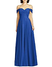 Womens Off Shoulder Chiffon Bridesmaid Long Evening Dress Formal BD131