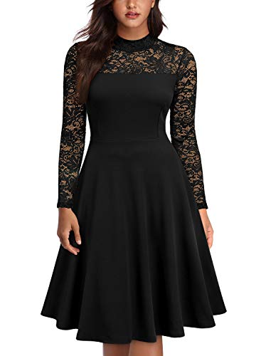 Knitee Women's Lace See Through Long Sleeves Round Neck Evening Nightout Cocktail Party Bodycon Fit and Flare Dress