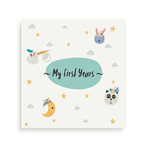Mae KIDS First 5 Years Baby Memory Book with Clean-Touch Ink Pad & 12 Milestone Stickers - Large Album for Recording your Babies Photos & Memories - Perfect Baby Shower Keepsake Gift for Boy or Girl