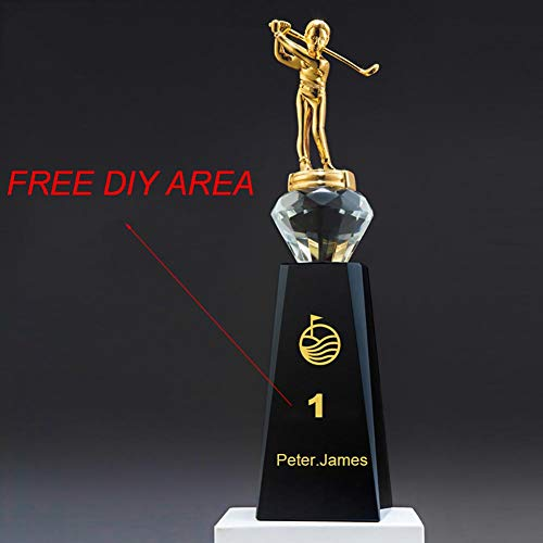initiative letter Custom-Made Crystal Champion Trophy Cup Free Design DIY Your Own Text/Logo/Image Engraved-8 Inch Tall Metal Award Golf Trophies (Include 10 Pieces)