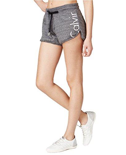 Calvin Klein Women's Plus Size Performance Terry Logo Shorts (XXLarge, Black Heather)
