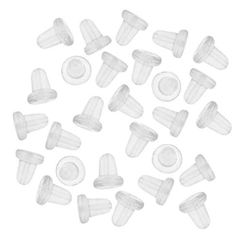 (Earring Backs, 150 Piece Earring Backings Soft Clear Ear Safety Back Pads Backstops Bullet Clutch Stopper Replacement Fish Hook Earring Studs Hoops (White, One)