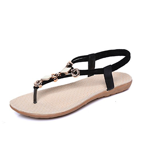 Flops Slip Beach Beaded Summer Black String Womens on Flip Dressy Bohemian Ladies Slippers Fashion T Dress Flat Sandals JULY Z47q00