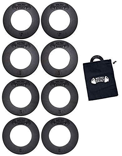 (USA Made Micro Gainz Olympic Fractional Weight Plate Set of .25LB-.50LB-.75LB-1LB Plates (8 Plate Set) - Designed for Olympic Barbells, Used for Strength Training and Micro Loading w/Carrying Bag )