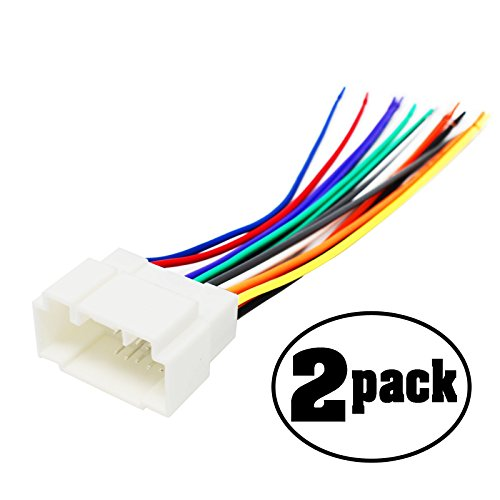 (2-Pack Replacement Radio Wiring Harness for 2008 Honda Ridgeline RTS Crew Cab Pickup 4-Door 3.5L - Car Stereo Connector)