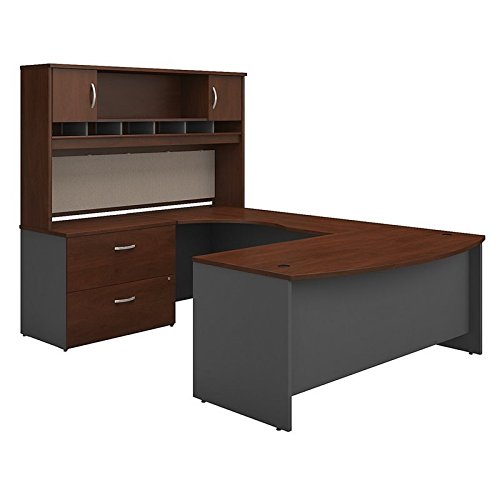 Bow Front Office Desk - Bush Business Furniture Series C 72W Left Handed Bow Front U Shaped Desk with Hutch and Storage in Hansen Cherry