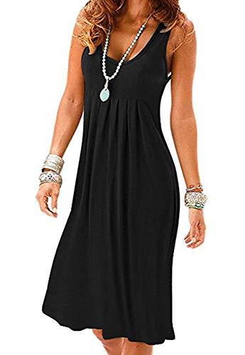 Akihoo Womens Casual Sleeveless Plain Pleated Tank Vest Dresses #1-Black XX-Large