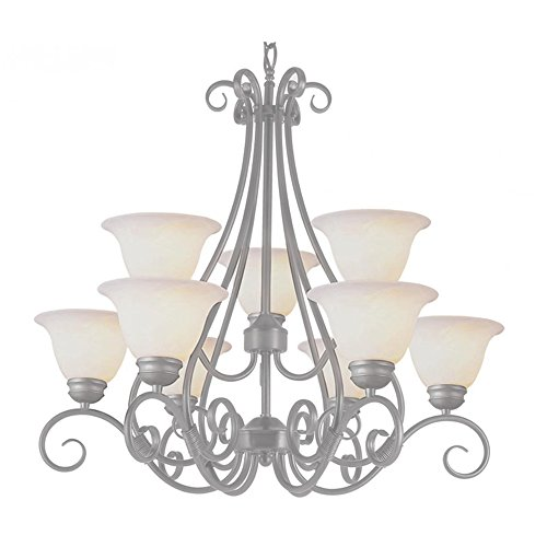 (Transglobe Lighting 6399 PW Chandelier with White Glass Shades, Pewter Finished)