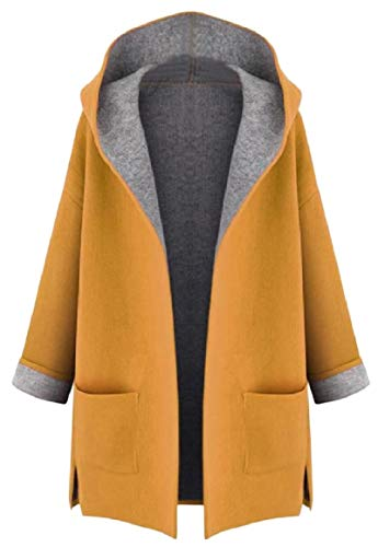 RomantcWomen Cardi Plus-Size Silm Fit Hooded Wool Blend Pure Overcoat Trench Coat Yellow 3XL ()