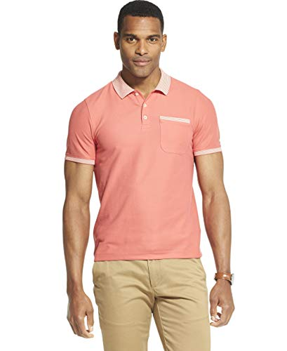 Van Heusen Men's Slim Fit Never Tuck Short Sleeve Solid Polo Shirt, Spiced Coral, Small ()