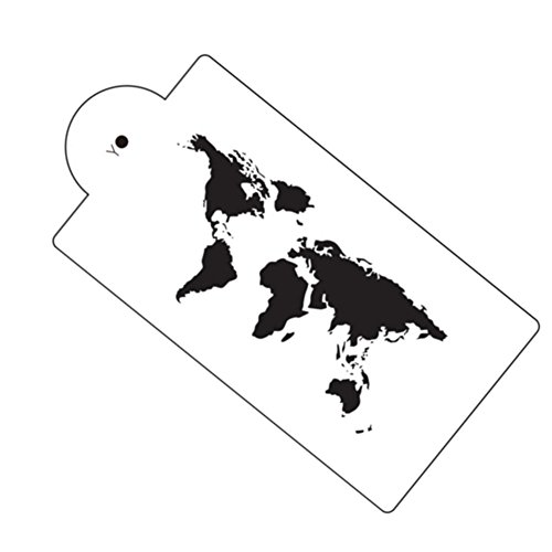 World Map Cake Stencil Airbrush Painting Art Mold Cookies Fondant Molds DIY Cake Mousse Brim Decorating Tools Bakeware ()