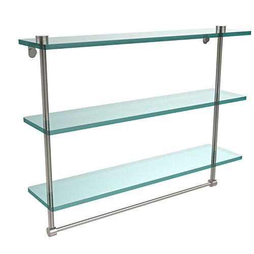 Glass Brass Shelf Triple Allied - Allied Brass NS-5/22TB-SN 22 Inch Triple Tiered Glass Shelf with Integrated Towel Bar, Satin Nickel