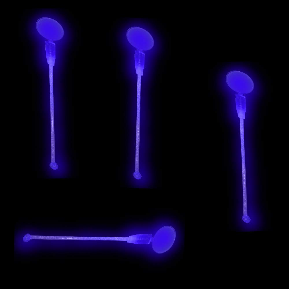Lumistick LED Light Up Circle Topper Cocktail Stirrers - Glowing Light Straws Favors Night Club Parties Liquid Plastic Swizzle Drink Stick (Blue, 50 Pack) by Lumistick (Image #5)