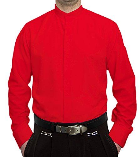 Designer Herren Hemd Stehkragen Bügelfrei Modell S9 Rot Steh Kragen Hemden Größe M 40
