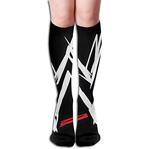 Tube Knee High Socks 50CM WWE Logo Men's Over-The-Calf Tube Sports Socks Extra Long Compression Stocking -