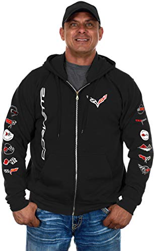 JH DESIGN GROUP Men's Chevy Corvette Zip Up Hoodie with Front Back & Sleeve Corvette Emblems (Large, Black)