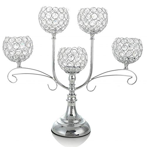 VINCIGANT Crystal Candle Holders/Candelabra Centerpiece for Wedding Dinner Part Firplace Decoration,House Decor Gift,Silver