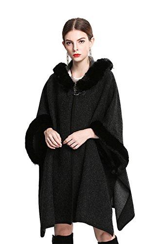Shineflow Women's Trim Hood Poncho Faux Rabbit Fur Cape Wrap Shawl Woolen Coat ,Black,Large - Ladies Faux Fur Collar Coat
