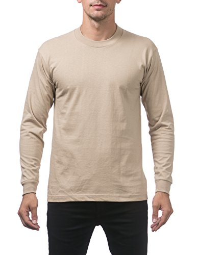 (Pro Club Men's Heavyweight Cotton Long Sleeve Crew Neck T-Shirt, Medium, Khaki)