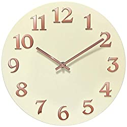 Infinity Instruments Vogue Modern Ivory Rose Gold Wall Clock Decorative Girls Wall Clock, 12 inch
