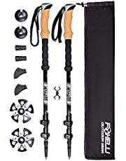 Foxelli Carbon Fiber Trekking Poles – Collapsible, Lightweight, Shock-Absorbent, Hiking, Walking & Running Sticks with Natural Cork Grips, Quick Locks, 4 Season/All Terrain Accessories and Carry Bag