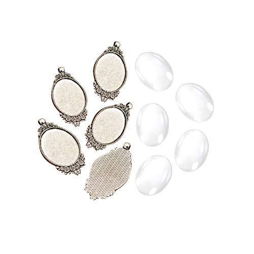 ARRICRAFT 5 Sets Alloy Antique Silver Flower Pendant Cabochon Settings with Oval Glass Cabochon Cover for DIY Pendant Making, Tray 40x30mm