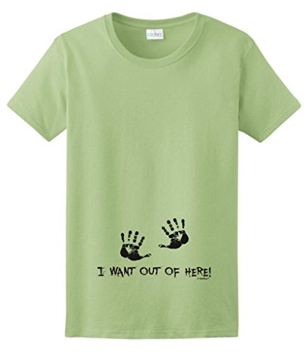 I Want Out of Here Funny Maternity Themed Ladies T-Shirt XL -