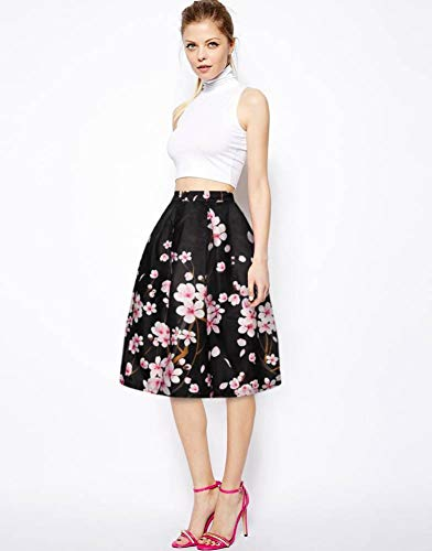 Women's/Big Girls' Flared Pleated Skater Midi Skirt Peach Blossom Knee Length Black Fit For Over 14 Years Old by ABCHIC (Image #5)