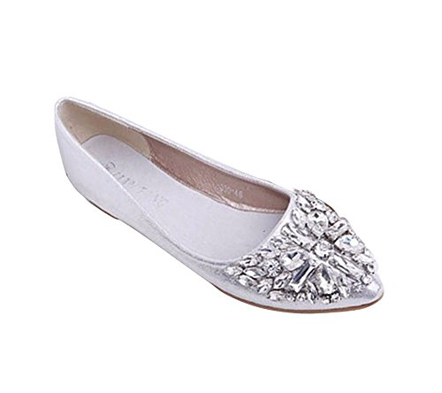 Maybest Women's Casual Rhinestone Ballet Comfort Soft Slip On Flats Shoes Silver 7 B(M) US