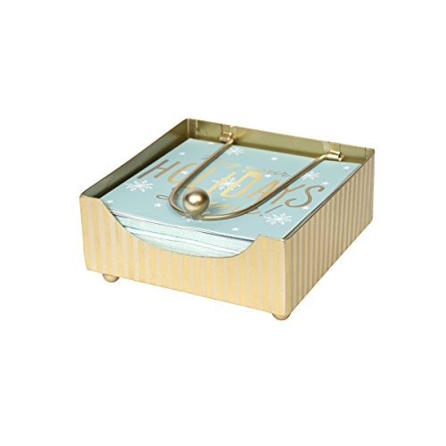 - C.R. Gibson Gold Tin Beverage Napkin Caddy, Gold