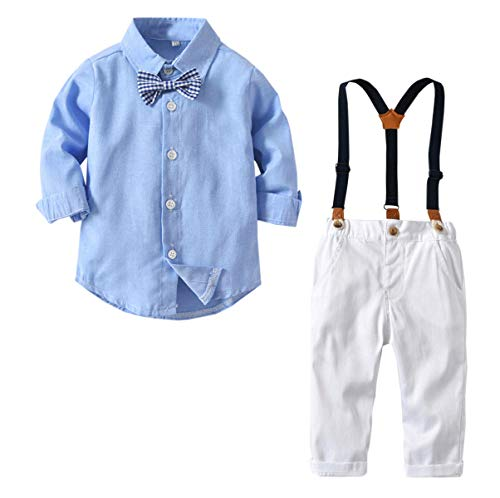 Baby Boys Dress Clothes, Boys Long Sleeves Button Down Dress Shirt with Bow Tie + White Suspender Pants Clothing Set Gentlemen Outfit S02 Light Blue, 9-12 Months/Tag 80