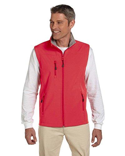 Jones Mens Soft Shell - Devon & Jones Soft Shell Stand-Up Collar Vest, RED, XX-Large