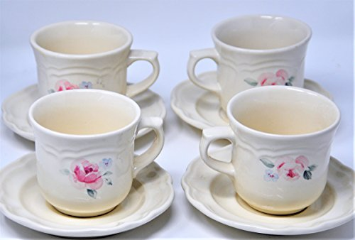 Pfaltzgraff Secret Rose Cup and Saucer Set of 4