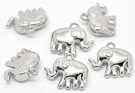 62A 15 CCB SILVER TONE LUCKY ELEPHANT CHARM//PENDANT 24x21mm JEWELLERY CRAFTING