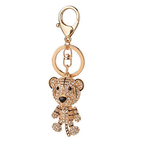 Bag Charm Pendant - Aibearty Cute Gold Tiger Keychain Crystal Car Key Rhinestone Bag Charm Pendant