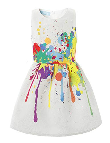 21KIDS Creative Art Colorful Paint Dress Print Summer Girls Casual Dresses,5,Art Paint (With Lining) -