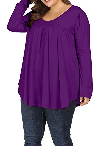(Allegrace Women Plus Size Casual Pleated Long Sleeve Blouse Top Round Neck Flowy T Shirts Purple 4X)