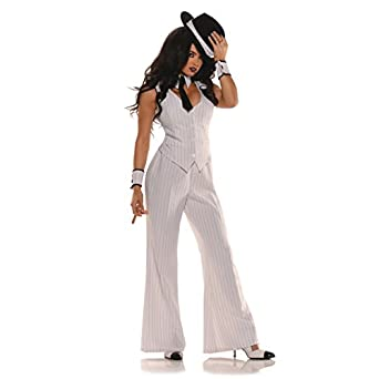Women's Mob Boss Costume, White/Black
