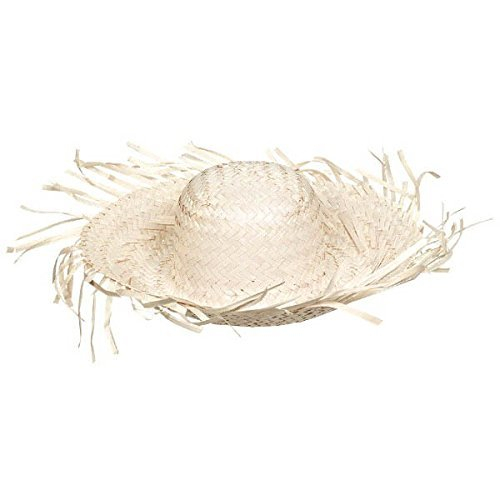 Summer Beach Hat Hawaiian Luau Costume Dress Up Party Headwear, Straw, Natural Brown, 4″ x 18″.