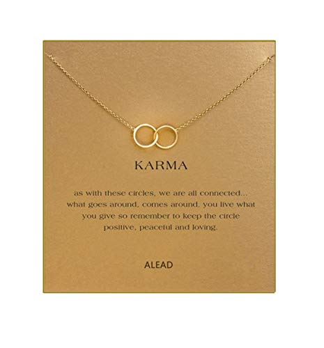 ALEAD Ladies Simple and Stylish Metal Double Ring Alloy Pendant Clavicle Necklace with Message Card Gift Card Heart-to-Heart Gifts(Metal Double Circle-Gold) - Eternal Circle Pendant Necklace