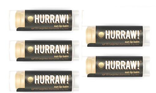 Hurraw Sun Protection (SPF 15, Tangerine, Chamomile) Lip Balm, 5 Pack