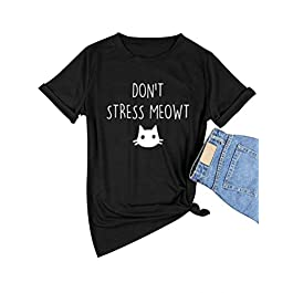Dresswel Don't Stress Meowt T-Shirt Women Short Sleeve Crew Neck Tee Shirts Funny Cat Graphic Tops