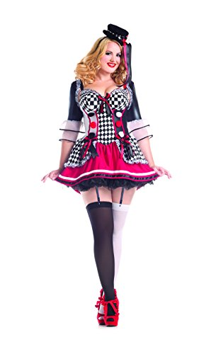 Harlequin Plus Size Costumes (Party King Women's Plus Size Pretty Harlequin Sexy Costume, Black/Red, 1X)
