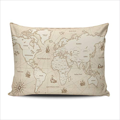 AIHUAW Home Decorative Cushion Covers Throw Pillow Case Great Detail of The World Map in Vintage Style Pillowcases Boudoir 12x18 Inches One Sided Printed (Set of 1) (Patio South Covers Chair Africa)
