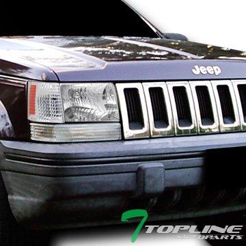 Topline Autopart Euro Chrome Head Lights+Parking Corner Lamps Amber K2 93-98 Jeep Grand Cherokee ()