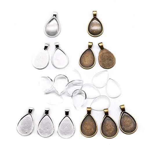 JETEHO 12 Sets 18x25mm Teardrop Oval Pendant Trays with Glass Cameo - Alloy Pendant Blanks Cameo Bezel Settings Photo Jewelry(Shiny Silver&Bronze)