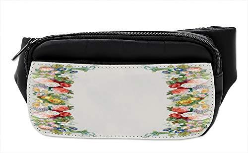 (Ambesonne Victorian Bumbag, Rose Garland Pastel, Fanny Pack Hip Waist Bag)
