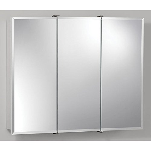 Jensen 75528030 Ashland Frameless Oversize Medicine Cabinet, Classic White, 24-Inch by 4-3/4-Inch (Tri View Frameless Medicine Cabinet)