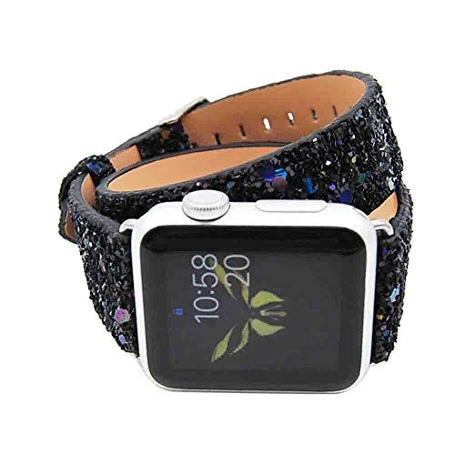 Compatible Strap Watch Band for Apple iWatch 4 40mm Double Tour Bling Bling Glitter Quick Release Easy Fit Adjustable Accessory Bracelet Wrist Strap (Black)