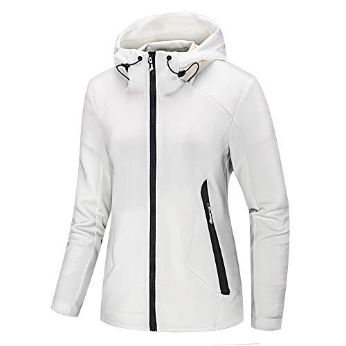 NIUDI Women's Athletic Jacket Double Zip-Up Hoodies Windbreaker Air Layer Structure Sweatshirt for Running Slim Fit (S, White)